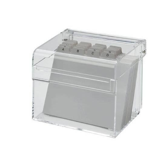 Boîte à fiches acrylique a7 avec intercalaire transparent (photo)
