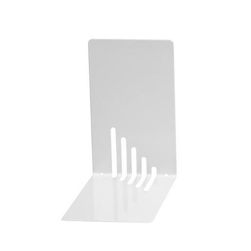 Serre-livres en métal étroit 14 x 8,5 x 14 cm coloris blanc - par 2 (photo)
