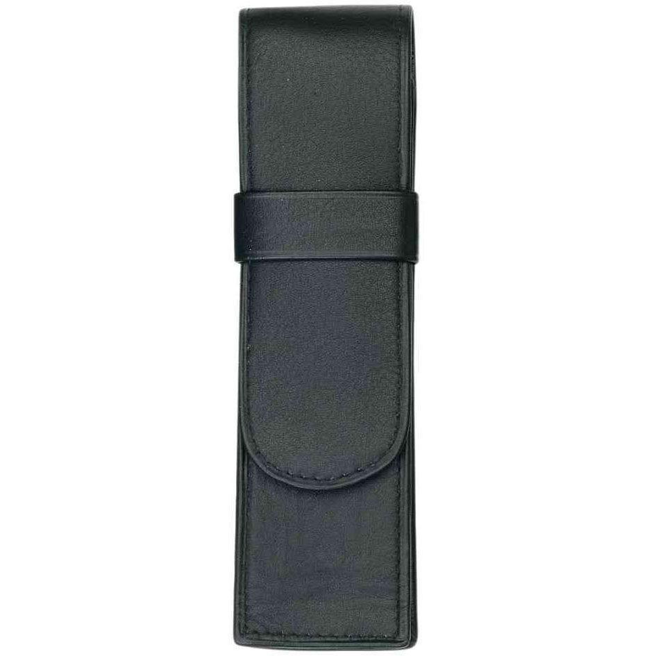 Etui pour 2 stylos en cuir 150 x 45 mm noir (livré vide) (photo)