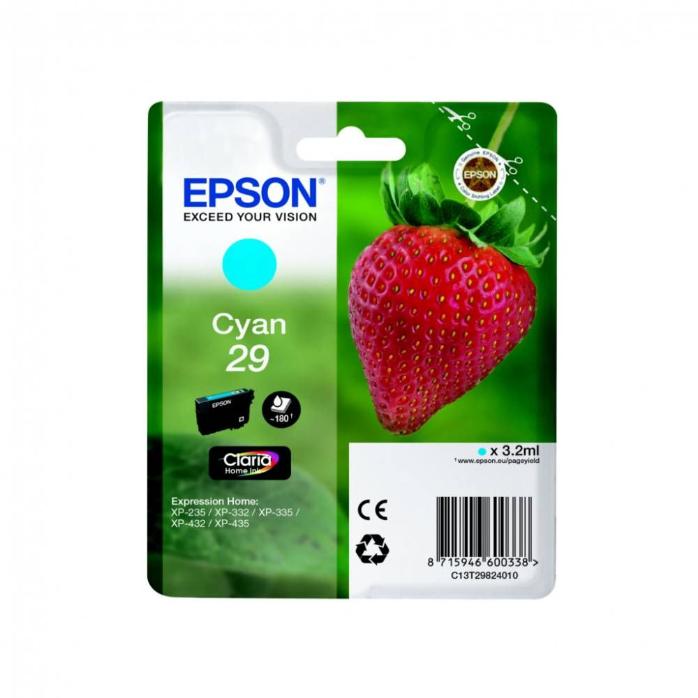 Epson cartouche d'encre d'origine cyan t2982(3 ml) capacité 180 pages