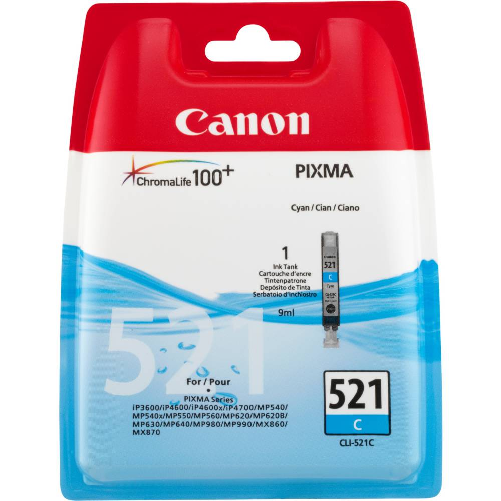 Canon cartouche jet d'encre d'origine cli-521 9 ml cyan
