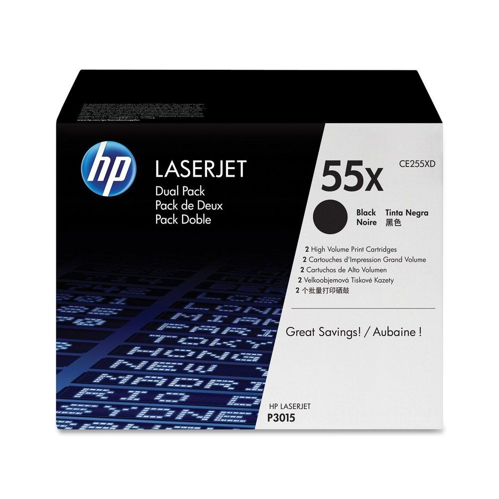 toner laser original ce255xd 2 x 12500 pages noir - par lot de 2