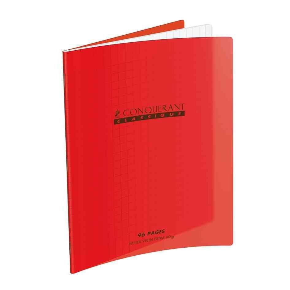 Cahier 240 x 320 mm, séyès, rouge (photo)