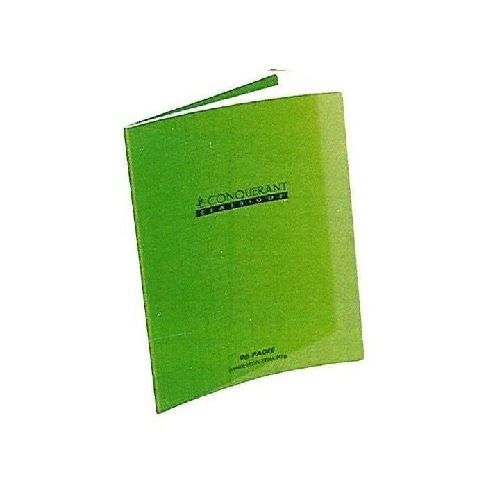Cahier 24 x 32 96 pages grands carreaux couverture polypro vert (photo)