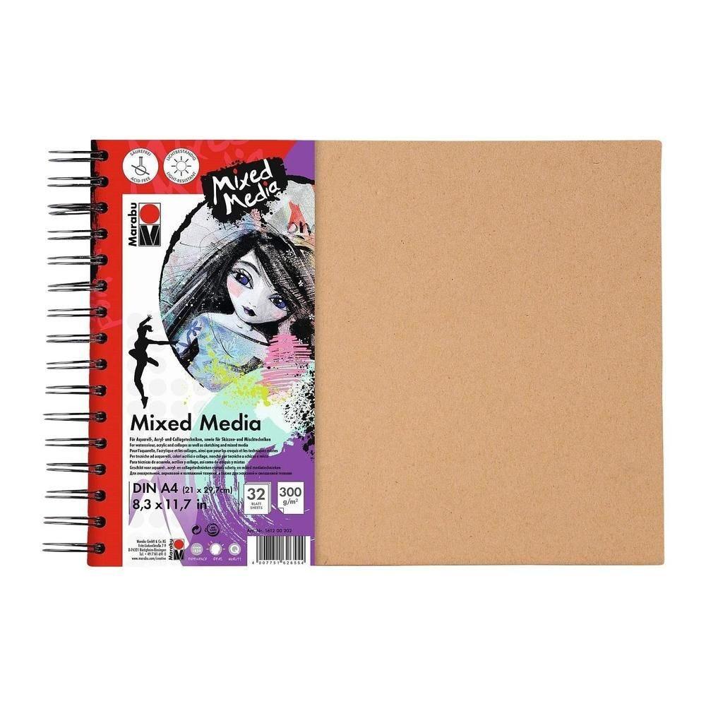 Marabu cahier à spirale 'mixed media' format a4, 300 g/qm