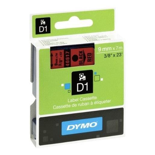 D1 cassettes de ruban encreur, noir/rouge 9 mm x 7,0 m