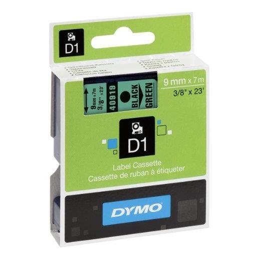 D1 cassettes de ruban encreur, noir sur vert 9mm/7,0 m