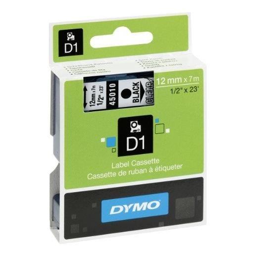 D1 cassettes de ruban, noir sur transparent 12mm/7 m