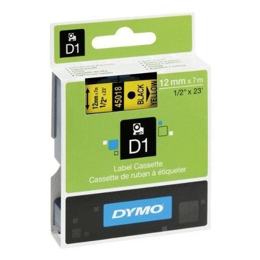 D1 cassettes de ruban encreur noir/jaune 12 mm x 7,0 m