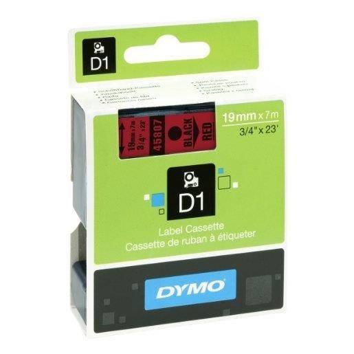 D1 cassettes de ruban encreur noir sur rouge 19mm/7,0 m