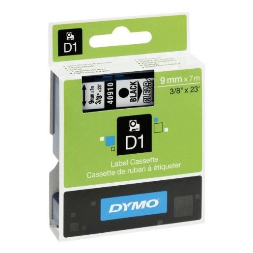 D1 cassettes de ruban noir sur jaune, 24 mm x 7,0 m