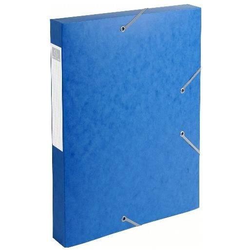 Chemise 3 rabats et élastique Exatobox dos de 4 cm, en carte lustrée 5/10e bleu