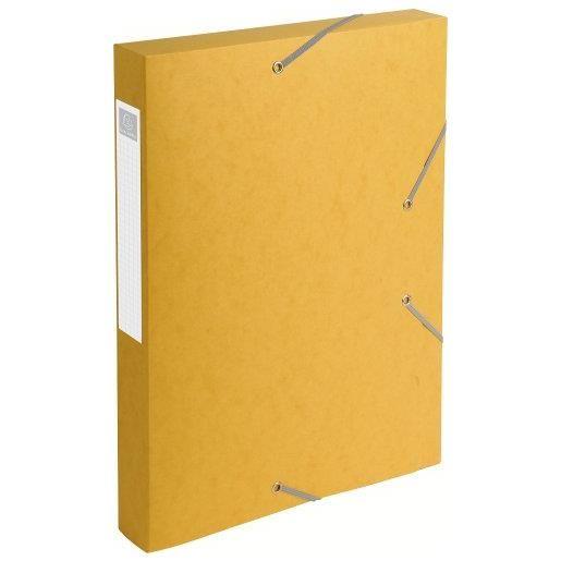 Chemise 3 rabats et élastique Exatobox dos de 4 cm, en carte lustrée 5/10e jaune