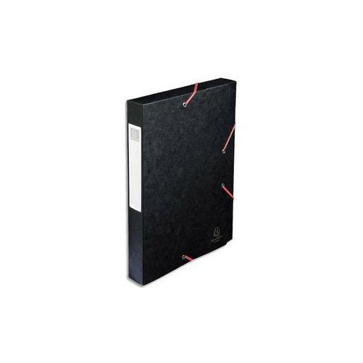 Chemise 3 rabats et élastique Exatobox dos de 4 cm, en carte lustrée 5/10e noir