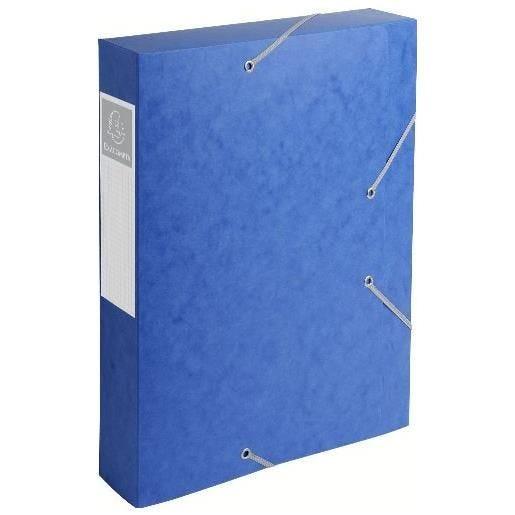 Chemise 3 rabats et élastique Exatobox dos de 6 cm, en carte lustrée 5/10e bleu