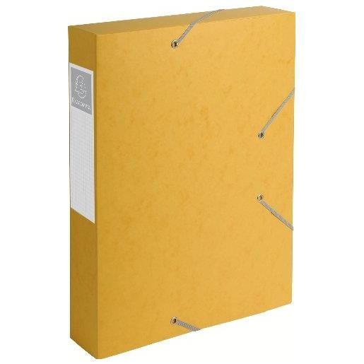 Chemise 3 rabats et élastique Exatobox dos de 6 cm, en carte lustrée 5/10e jaune
