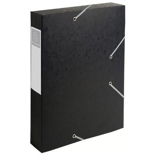 Chemise 3 rabats et élastique Exatobox dos de 6 cm, en carte lustrée 5/10e noir