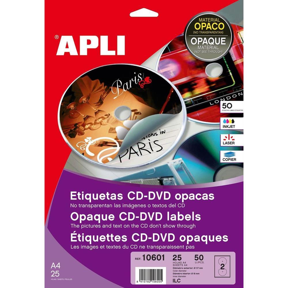 Pochette de 50 Étiquettes CD/DVD multi usage adhésif opaque Ø 117 / Ø 18 mm