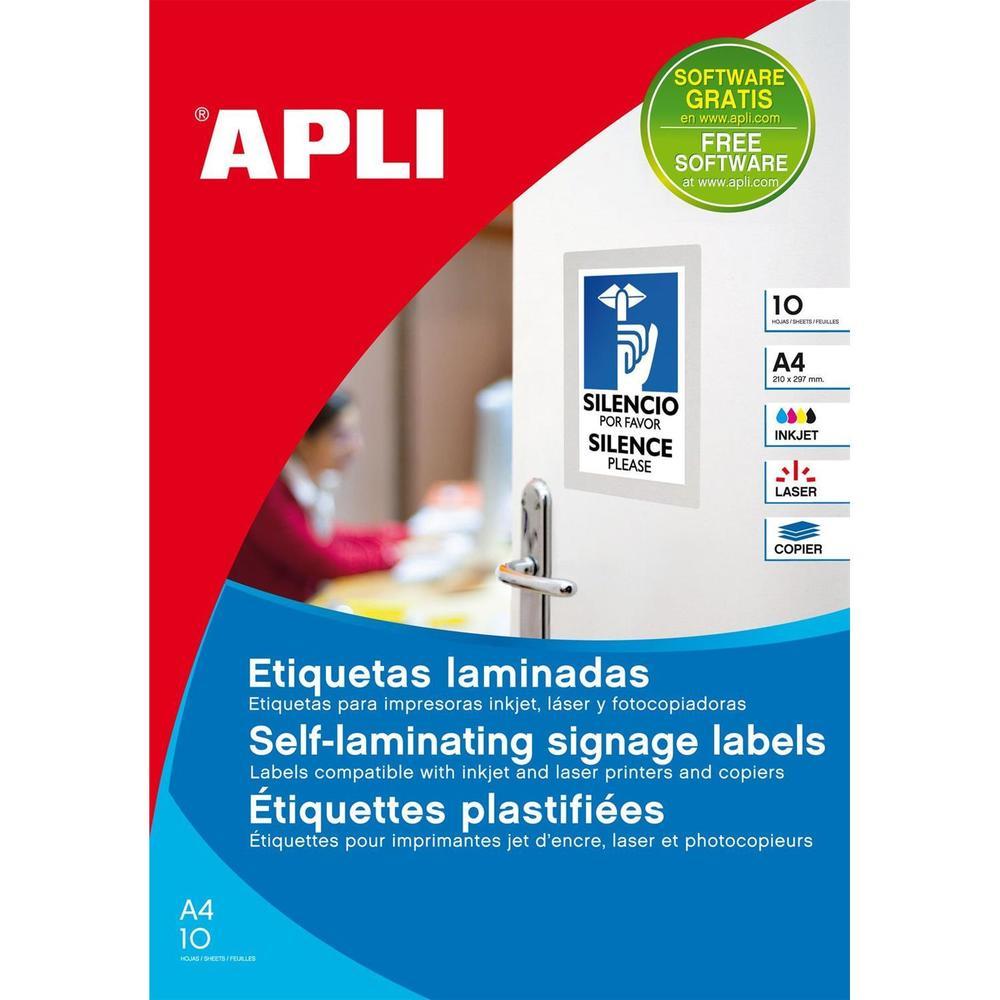 Etui de 10 ( 10F A4 ) Étiquettes Multi usages Plastifiées 170x257 mm Blanc