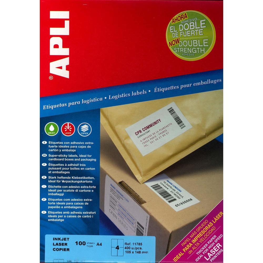 Boite de 400 Étiquettes coins droit adhésif extra fort multi-usage 105 x 148 mm
