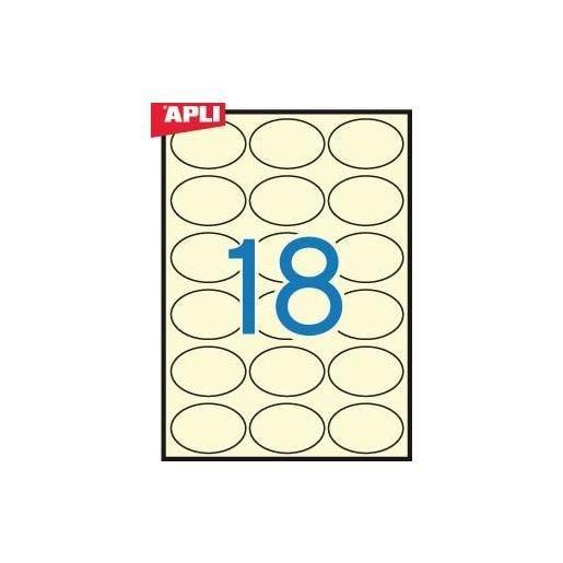 Etui 360 Étiquettes 63,5x42,3 mm (18 x 20F A4) Multi-usage Ovale Permanent Crème