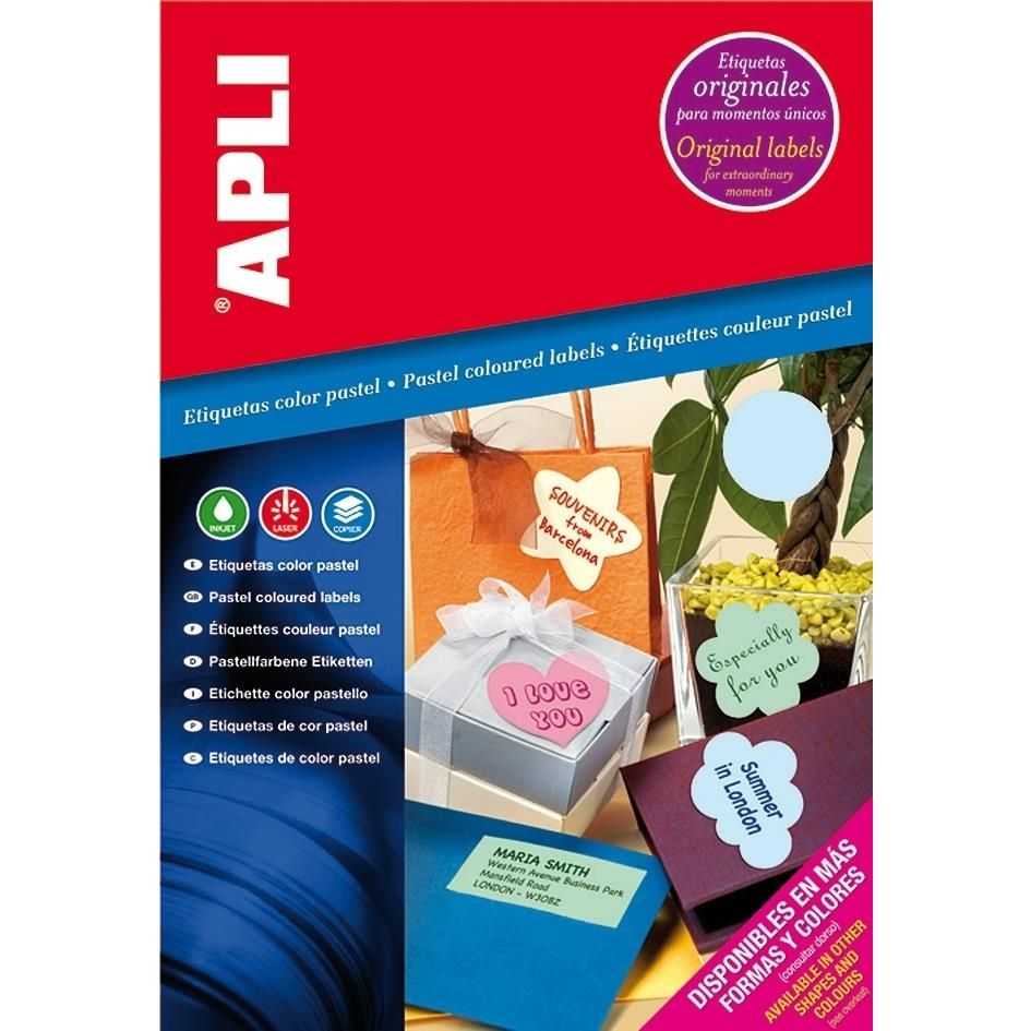 Etui 20 Étiquettes A4 210x297 mm (1 x 20F A4) Multi-usage Coin Droit Vert Pastel