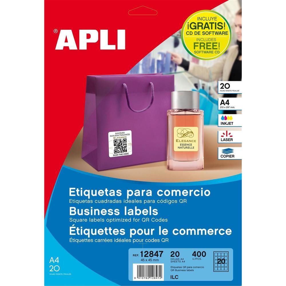 Pochette 400 Étiquettes pour code QR coins arrondis multi-usage 45 x 45 mm