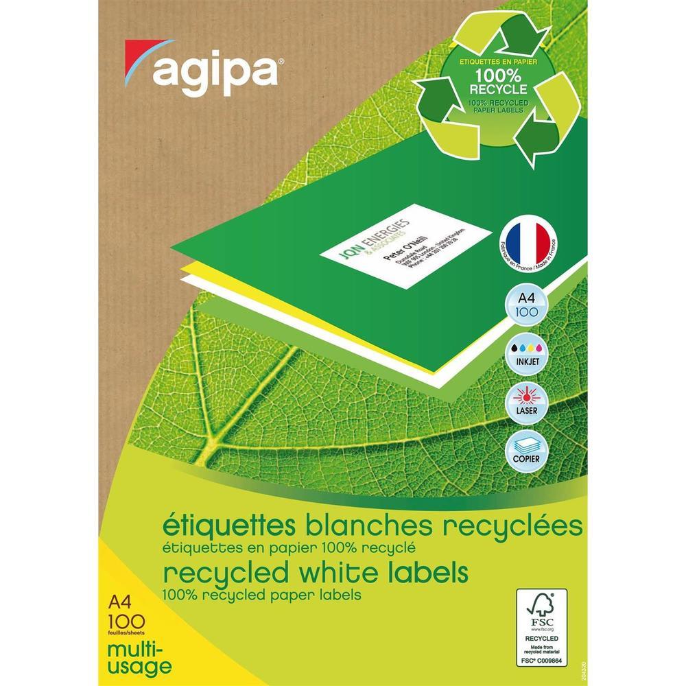 Boite de 800 Étiquettes 105x70 mm (8 x 100F A4) Multi-usage Coin Droit Recycl…