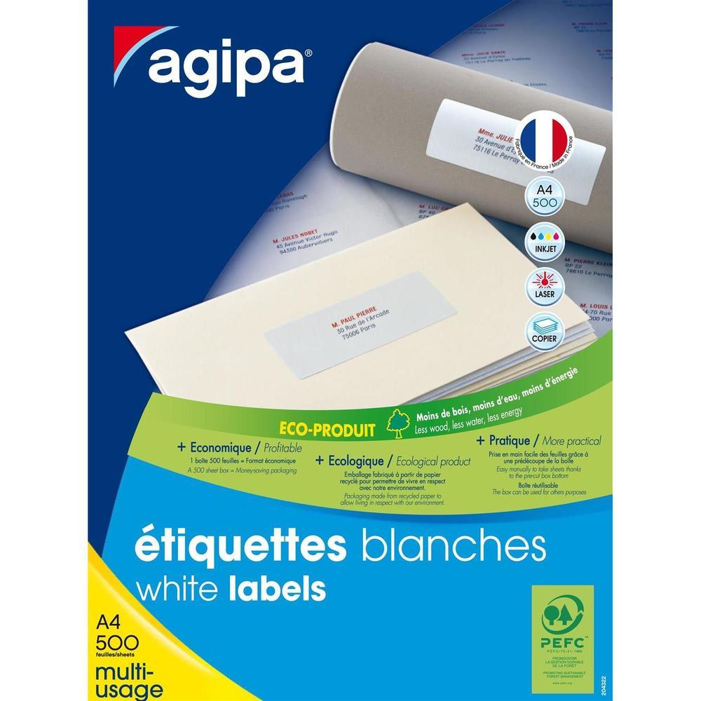 Boite de 500 Feuilles A4 10500 Étiquettes Multi-usages Permanent 63,5x38,1 mm…