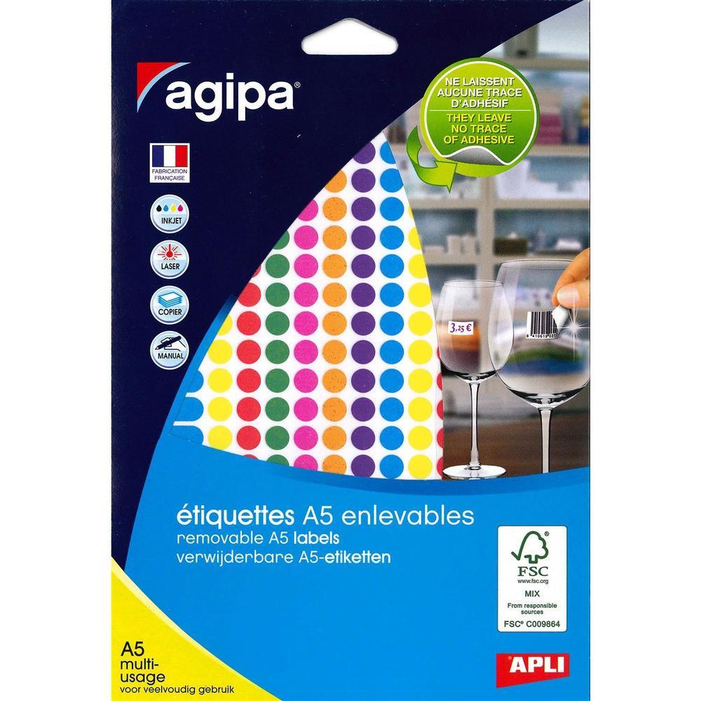 Etui A5 ( 6F ) de 1764 Étiquettes multi-usage Enlevable Rondes 8 mm Assorties