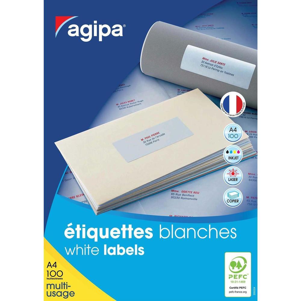 Étiquettes DIN A4 multi usage arrondis 38,1 x 21,2 mm Blanc par lot de 6500