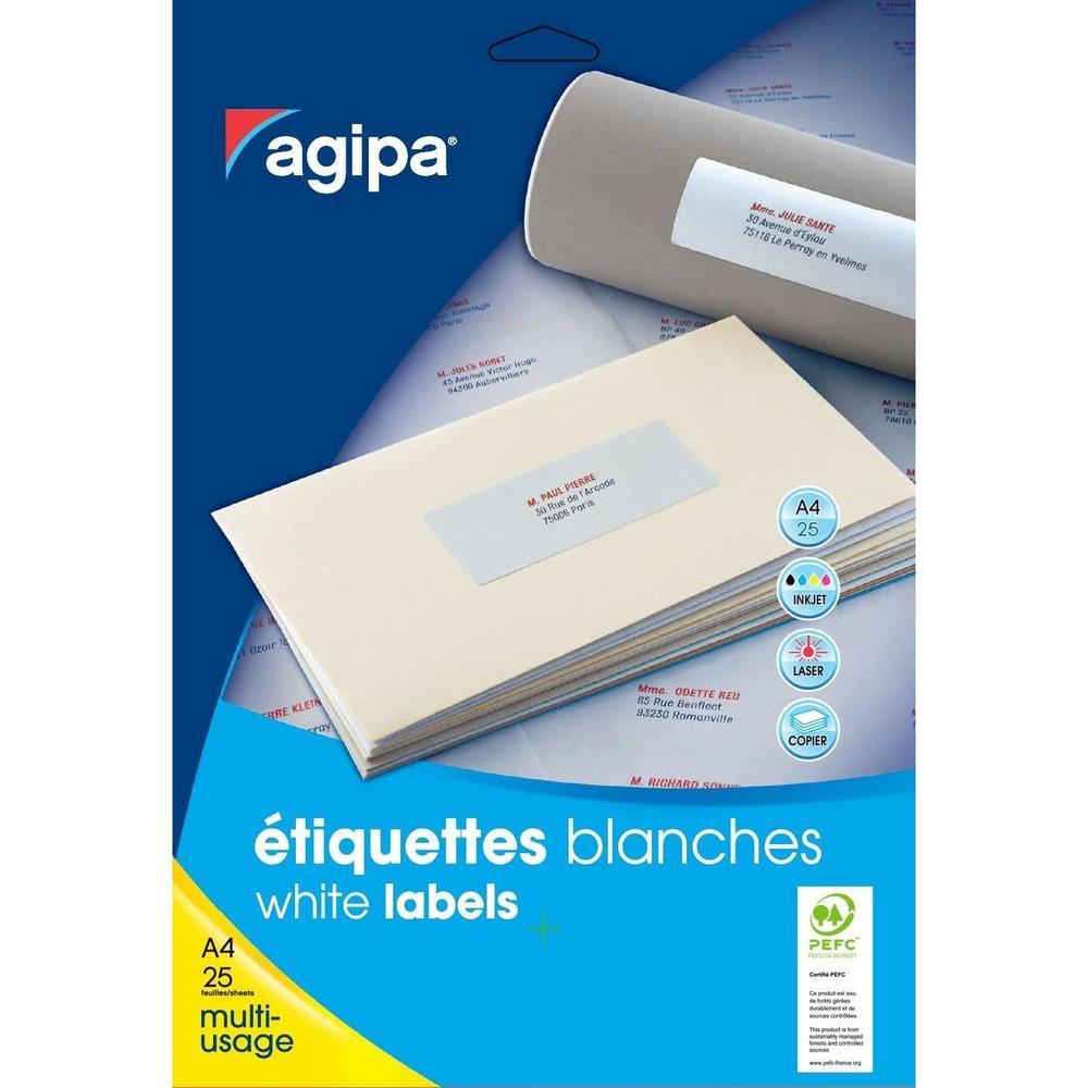 Boite de 600 Étiquettes Multi-usages 134 x 11 mm sur 25F A4 Blanc