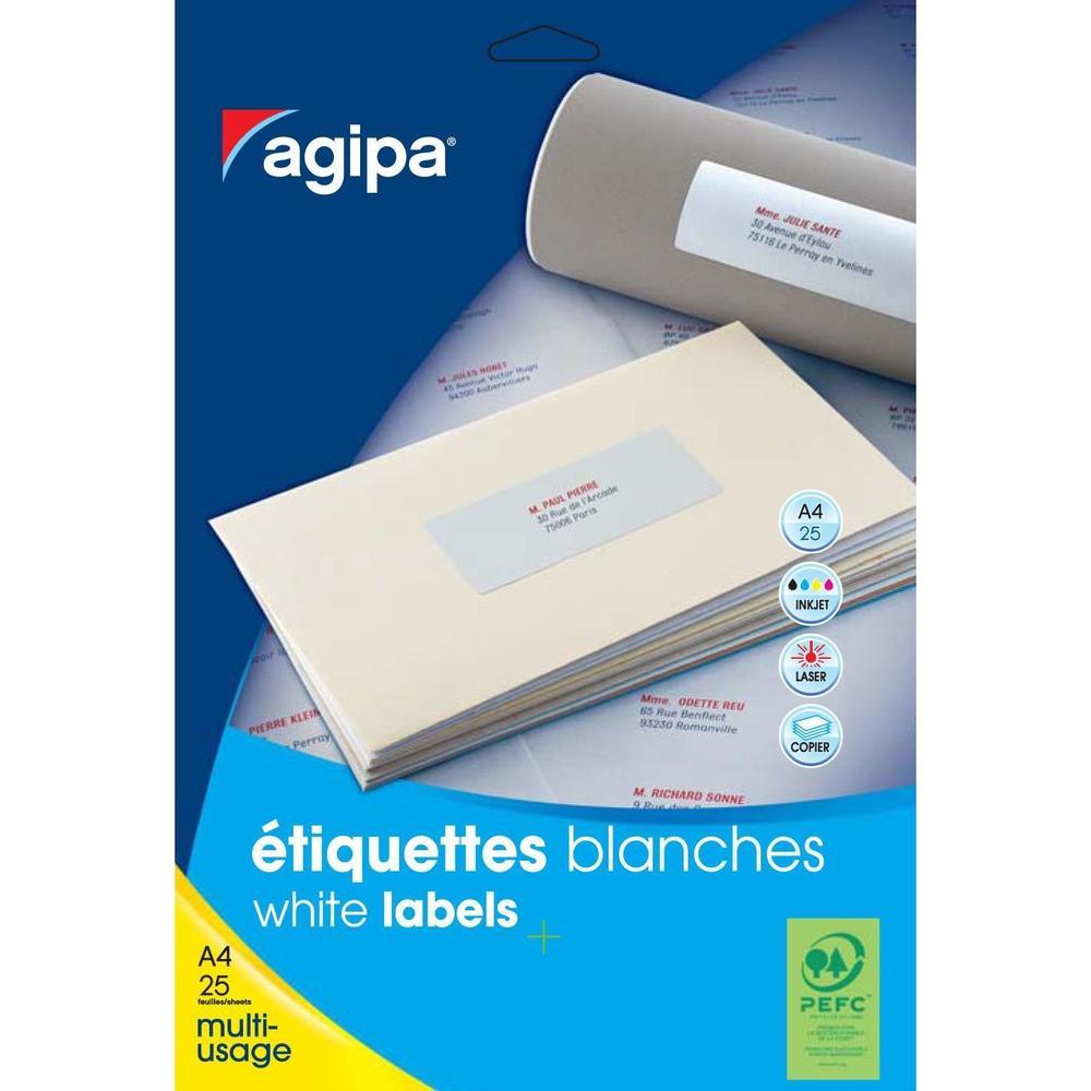 Etui de 80 Étiquettes 190x61 mm (4 x 20F A4) Multi-usage Dos de classeur Blanc