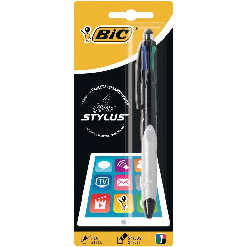 Stylo 2 en 1 Bille + Stylet 4 COLOURS GRIP STYLUS Corps Gris Pte Moy. 4 Couleurs