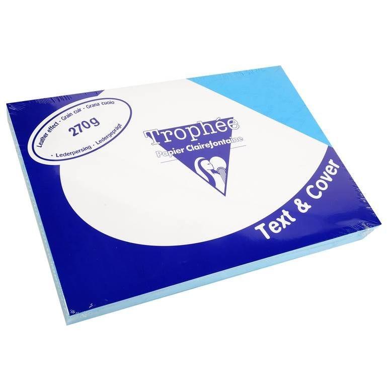 Couvertures reliure Text&Cover Cuir 270g A4 210x297 mm Bleu - Paquet de 100