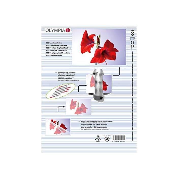 Pochettes de Plastification A4 125 microns - par lot de 100