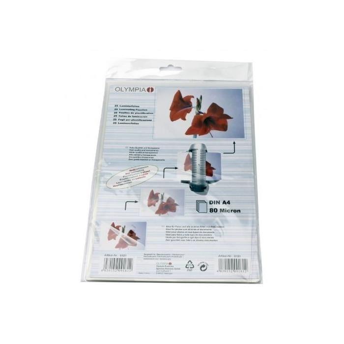 Pochettes de Plastification A4 80 microns - par lot de 25