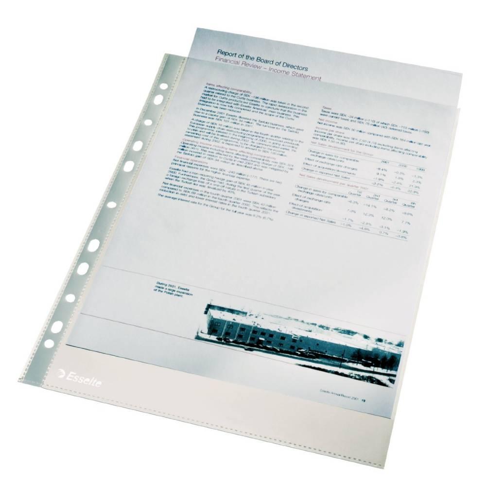 Pochettes perforées Eco 4/100eme Transparente grainée - par lot de 100