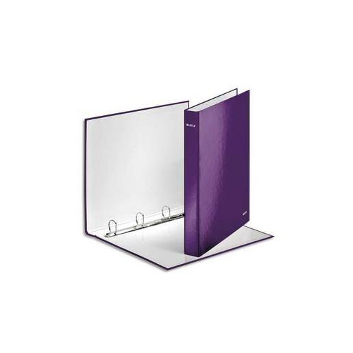 Classeur à anneaux plastifié Leitz WOW violet A4