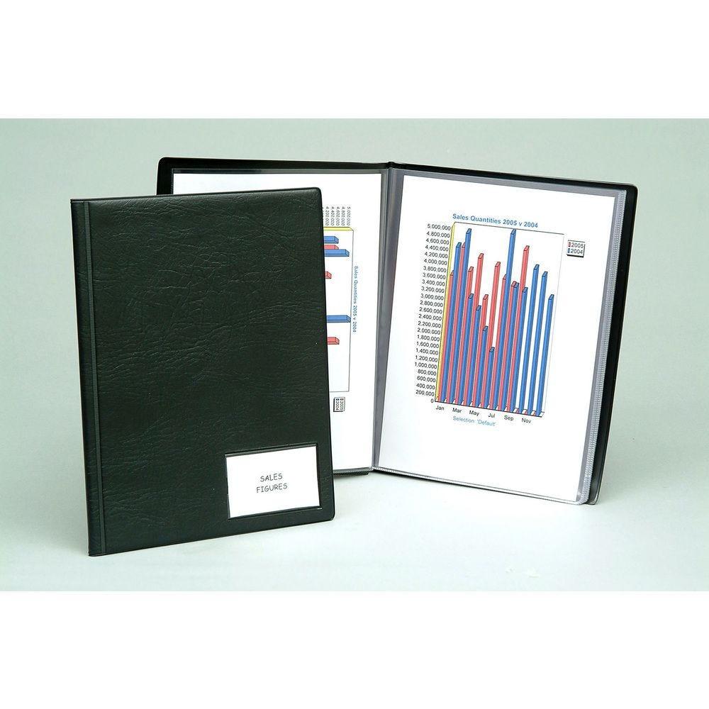 Protège documents Premium Goldline PVC 14/100eme 50 poches pour A4 Noir