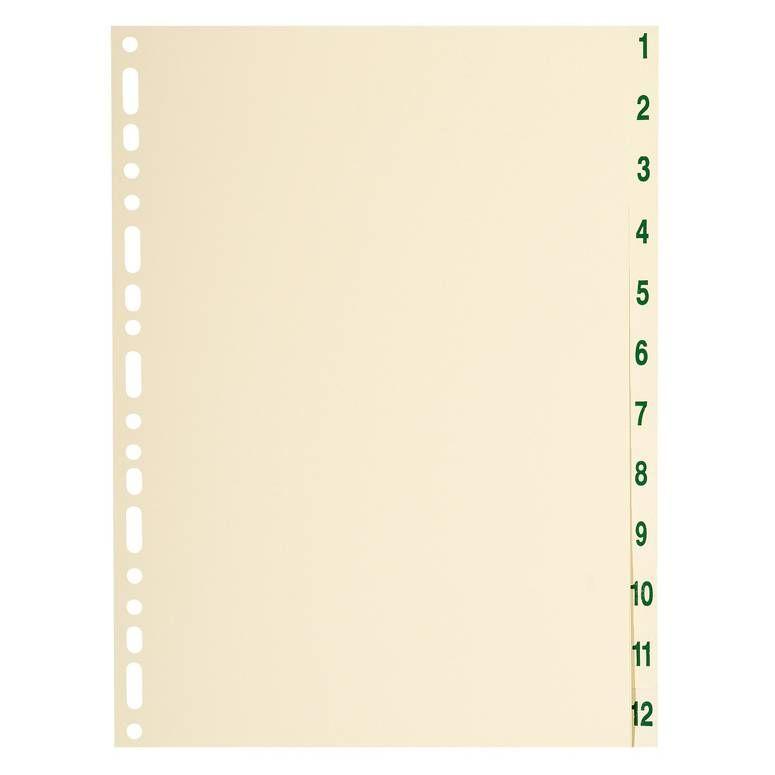 Jeu intercalaire numérique Carte Peau 155g A4 12 positions 1-12 Crème