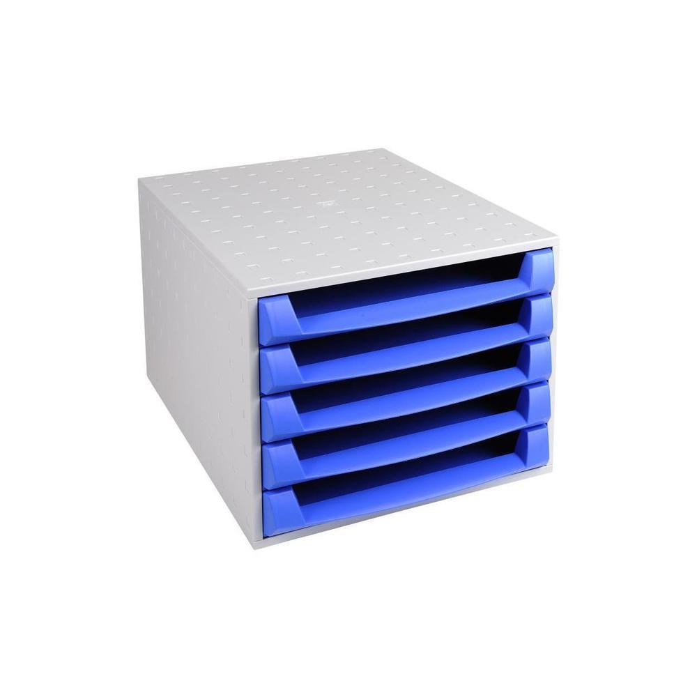 Bloc de classement THE BOX Fantasy Works 5 tiroirs ouvert Gris lumiére/bleu g…