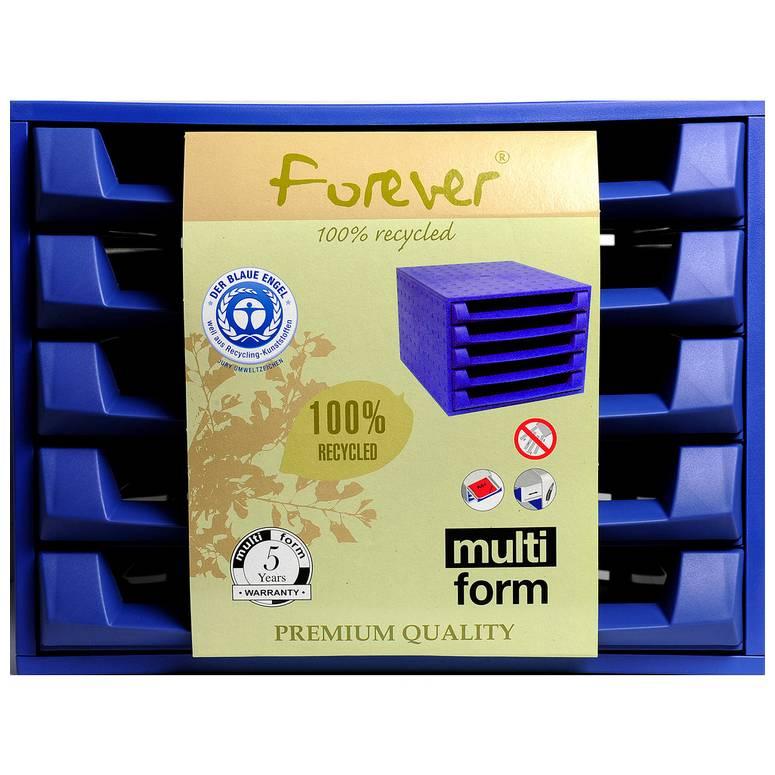 Bloc de classement THE BOX Forever 5 tiroirs ouvert Bleu cobalt