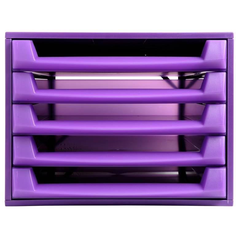 Bloc de classement THE BOX Fantasy Works 5 tiroirs ouvert Violet/violet trans…