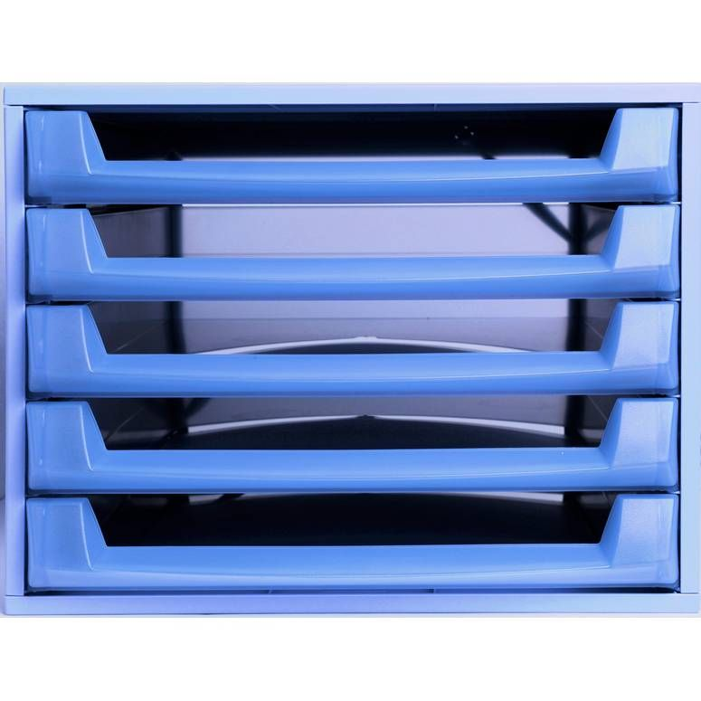 Bloc de classement THE BOX Fantasy Works 5 tiroirs ouvert Bleu / Bleu Translu…