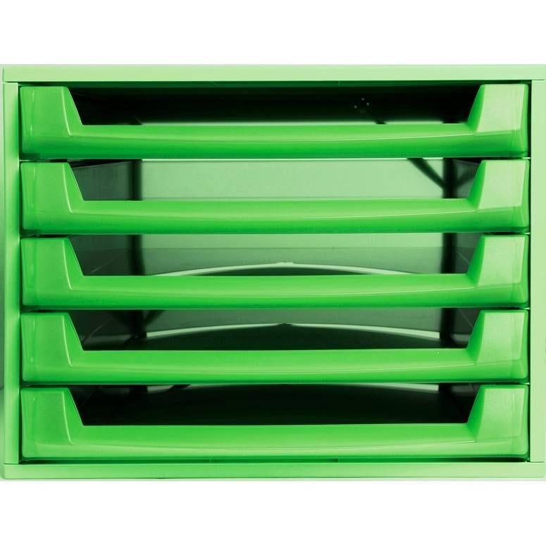 Bloc de classement THE BOX Fantasy Works 5 tiroirs ouvert Vert pomme/ Translu…