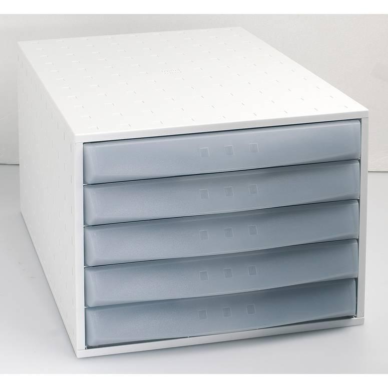 Bloc de classement THE BOX Fantasy Works 5 tiroirs Fermé Gris lumière / Brume