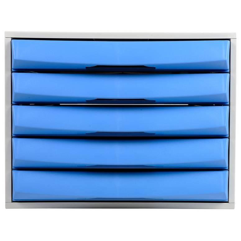 Bloc de classement THE BOX Fantasy Works 5 tiroirs Fermé Gris lumière/bleu glacé