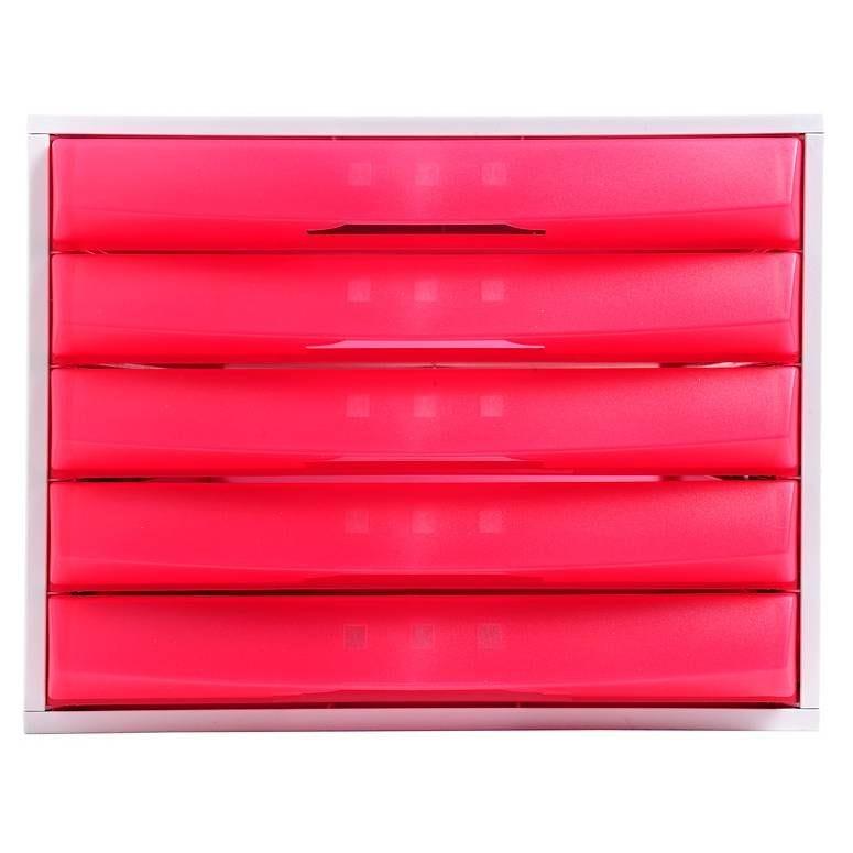 Bloc de classement THE BOX Fantasy Works 5 tiroirs Fermé Gris lumière/framboi…