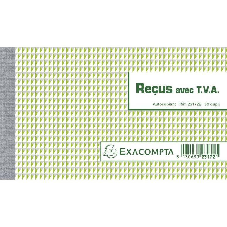 Manifold Reçus avec TVA 50 feuillets Dupli autocopiant 10.5 x 18 cm